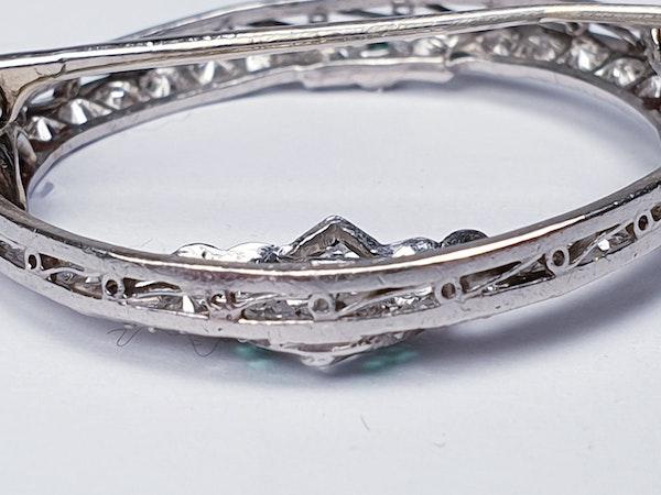 Art Deco Emerald and Diamond Brooch  DBGEMS - image 5