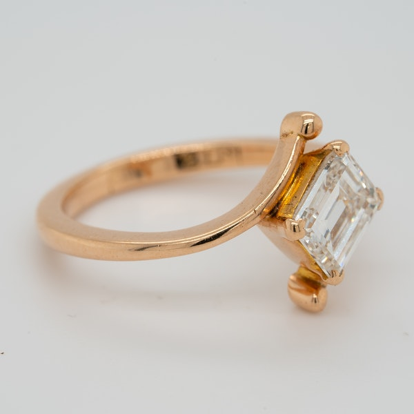 Rose gold emerald cut diamond solitaire  ring with certificate - image 2