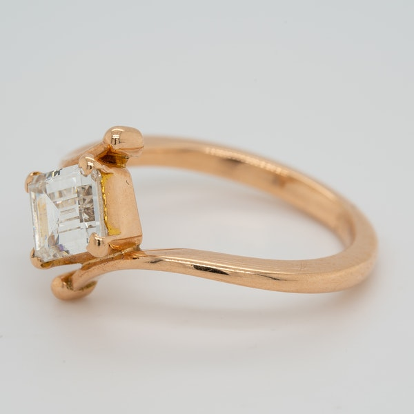 Rose gold emerald cut diamond solitaire  ring with certificate - image 3