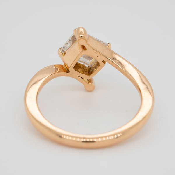 Rose gold emerald cut diamond solitaire  ring with certificate - image 4