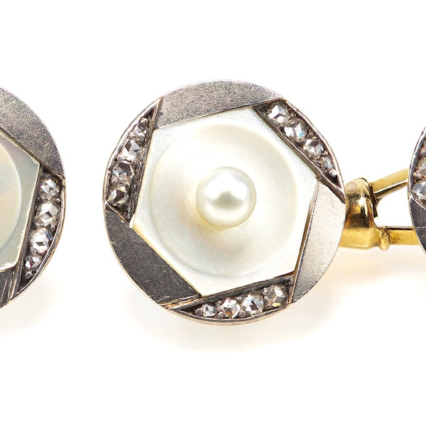 Antique Cufflinks in 14 Karat Gold with Natural Pearl, Diamonds and Mother of Pearl, Austrian circa 1900. - image 2