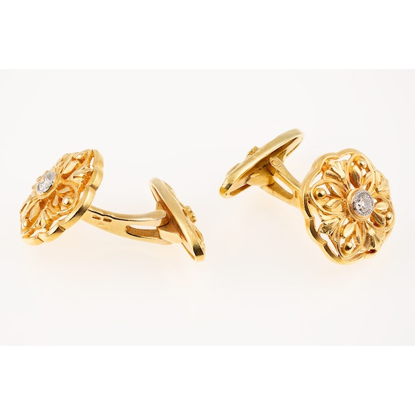 Art Nouveau Cufflinks Single Sided in 18 Karat Gold Floral Openwork & Central Diamond, French circa 1890. - image 4