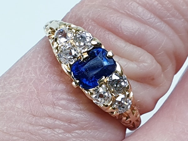 Victorian Sapphire and Diamond Engagement Ring  DBGEMS - image 5
