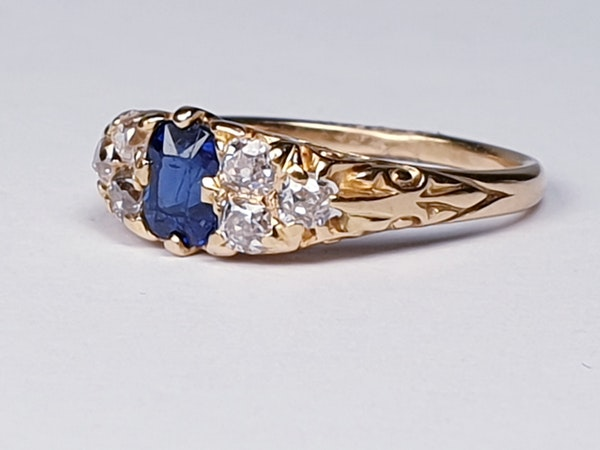 Victorian Sapphire and Diamond Engagement Ring  DBGEMS - image 4