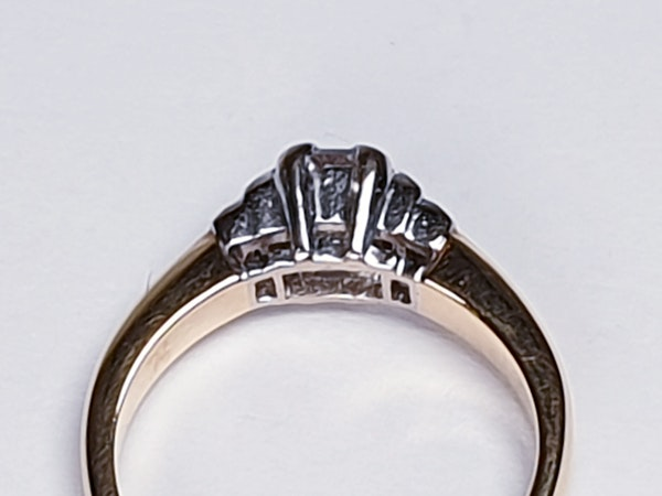 Vintage Emerald Cut and Baguette Diamond Engagement Ring  DBGEMS - image 2