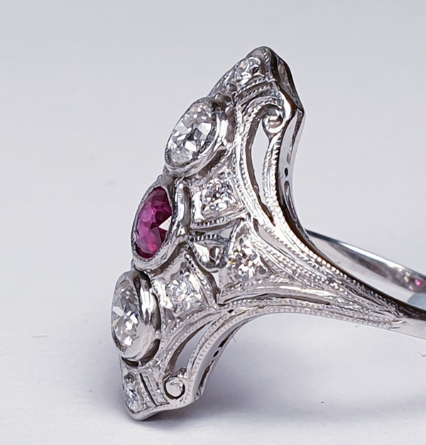 Art deco ruby and diamond ring  DBGEMS - image 2