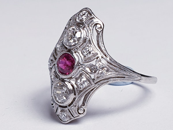 Art deco ruby and diamond ring  DBGEMS - image 4