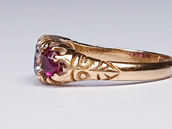 Victorian Ruby and Diamond Ring  DBGEMS - image 2