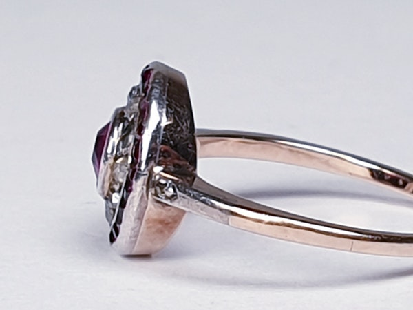 Ruby and Diamond Target Cluster Engagement Ring  DBGEMS - image 4