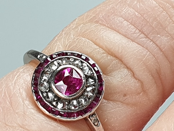 Ruby and Diamond Target Cluster Engagement Ring  DBGEMS - image 5
