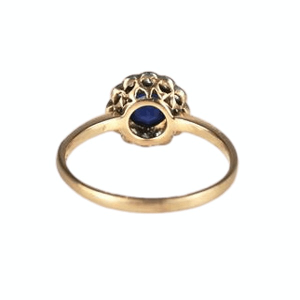 A 1900s Royal Blue Sapphire and Diamond Ring - image 2