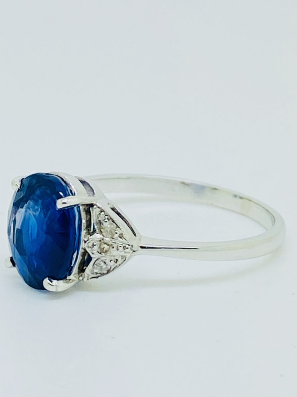 Platinum 2.64ct Natural Blue Sapphire and Diamond Ring - image 2