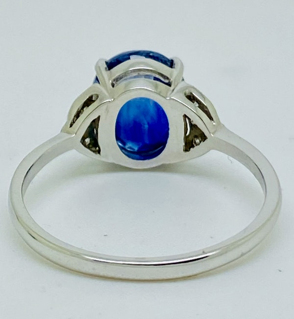 Platinum 2.64ct Natural Blue Sapphire and Diamond Ring - image 3