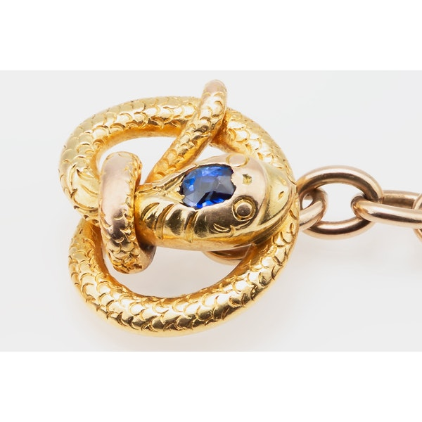 Antique Cufflinks in 14 Karat Gold of a Coiled Serpent with Sapphire Centre, American circa 1890. - image 3