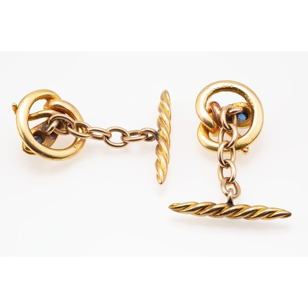 Antique Cufflinks in 14 Karat Gold of a Coiled Serpent with Sapphire Centre, American circa 1890. - image 2