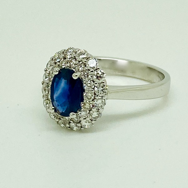 18K white gold 0.72ct Natural Blue Sapphire and 0.59ct Diamond Ring - image 2