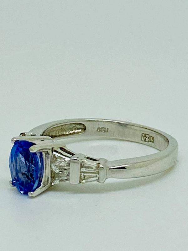 14K white gold Tanzanite and Diamond Ring - image 2