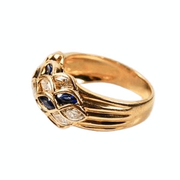 A Sapphire and Diamond Lattice Bombé Ring - image 1
