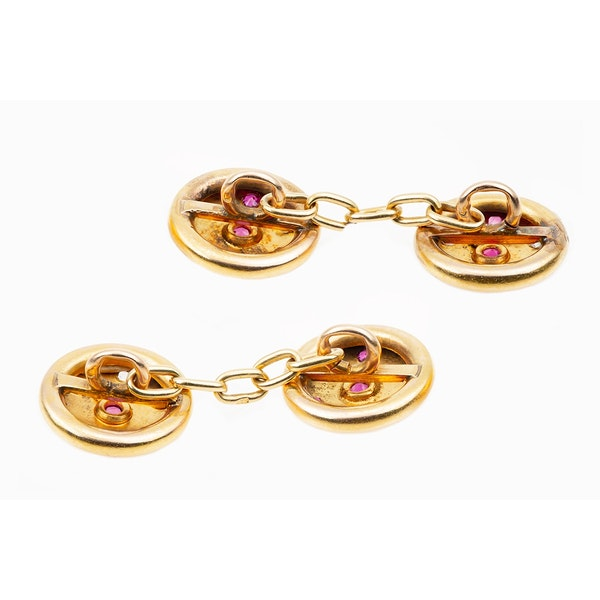 Antique Cufflinks in 18 Karat Gold with Rubies and Diamonds in a Star Setting, French circa 1890. - image 3