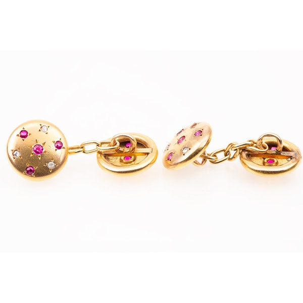 Antique Cufflinks in 18 Karat Gold with Rubies and Diamonds in a Star Setting, French circa 1890. - image 2
