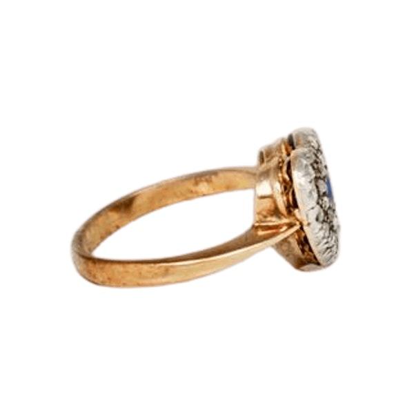 A 1900s Sapphire & Rose Diamond Heart Ring - image 2