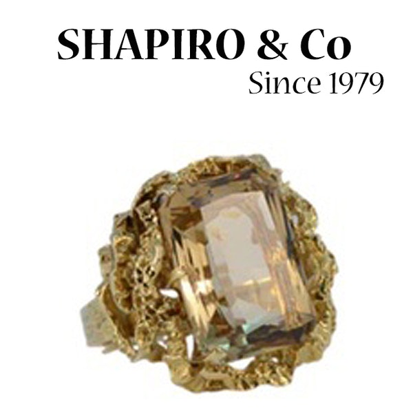 1960's, 18ct Yellow Gold Citrine stone set Ring, SHAPIRO & Co since1979 - image 3
