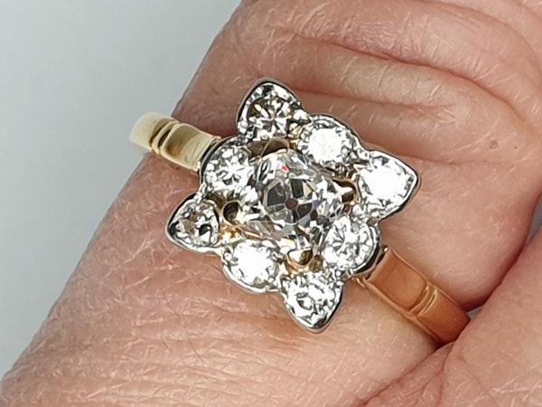 Antique Square Cushion Cut Diamond Ring  DBGEMS - image 2