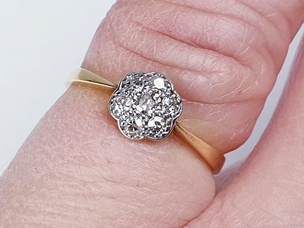 Edwardian Diamond Cluster Ring 1948   DBGEMS - image 4