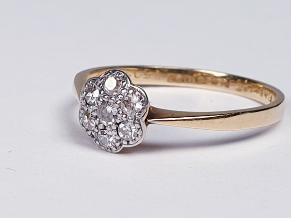 Edwardian Diamond Cluster Ring 1948   DBGEMS - image 6
