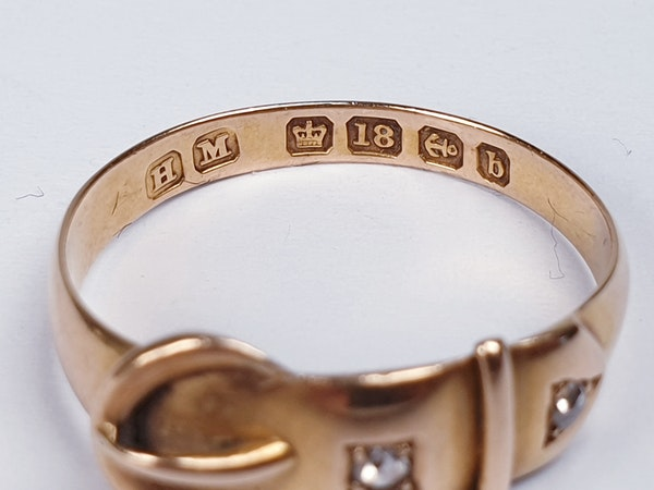 Victorian 18ct Gold and Diamond Buckle Ring  DBGEMS - image 2