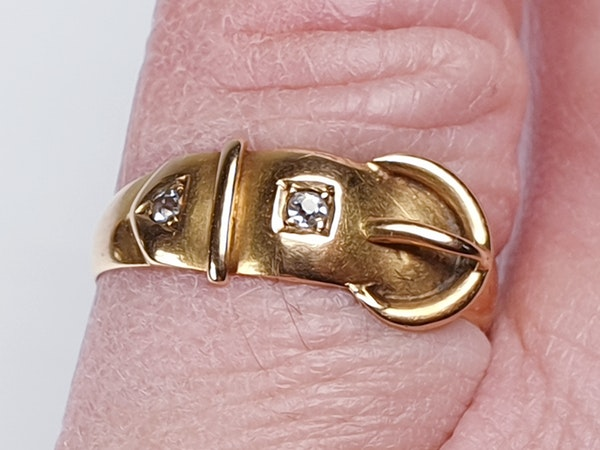 Victorian 18ct Gold and Diamond Buckle Ring  DBGEMS - image 4