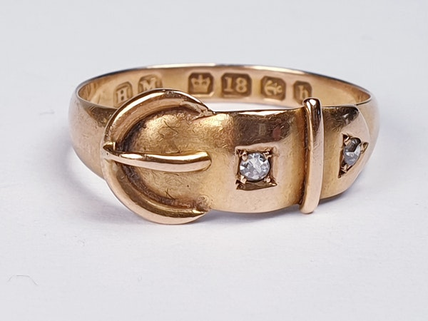 Victorian 18ct Gold and Diamond Buckle Ring  DBGEMS - image 3