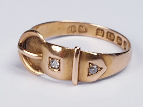 Victorian 18ct Gold and Diamond Buckle Ring  DBGEMS - image 6