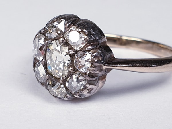 Antique Diamond Cluster Ring  DBGEMS - image 2