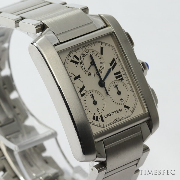Cartier Tank Francaise, Chronograph, Chronoflex, Stainless Steel - image 3