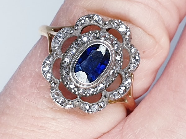 Antique Sapphire and Rose Cut Diamond Cluster Ring  DBGEMS - image 5