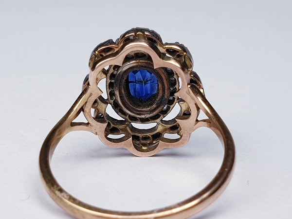 Antique Sapphire and Rose Cut Diamond Cluster Ring  DBGEMS - image 4