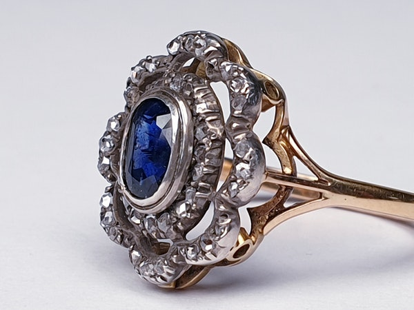 Antique Sapphire and Rose Cut Diamond Cluster Ring  DBGEMS - image 3