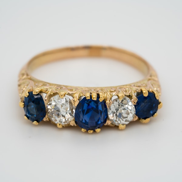 5 stone carved half hoop sapphire and diamond ring - image 1