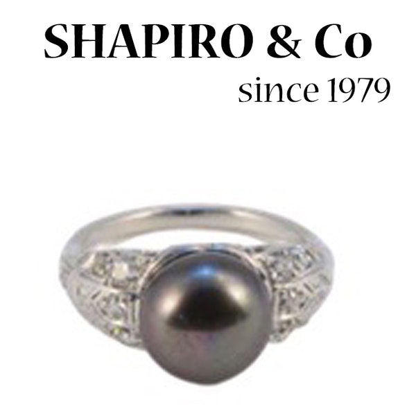 1960's, Platinum and Button shape Tahitian Pearl & Old Cut Diamond stone set Ring, SHAPIRO & Co since 1979 - image 3