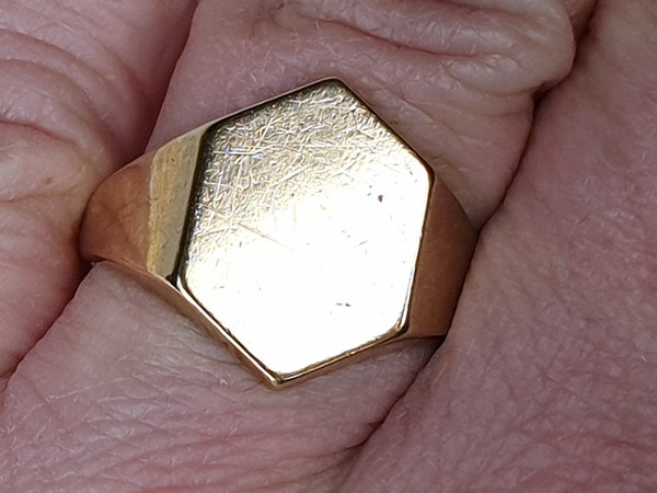 Hexagonal Gold Signet Ring  DBGEMS - image 2