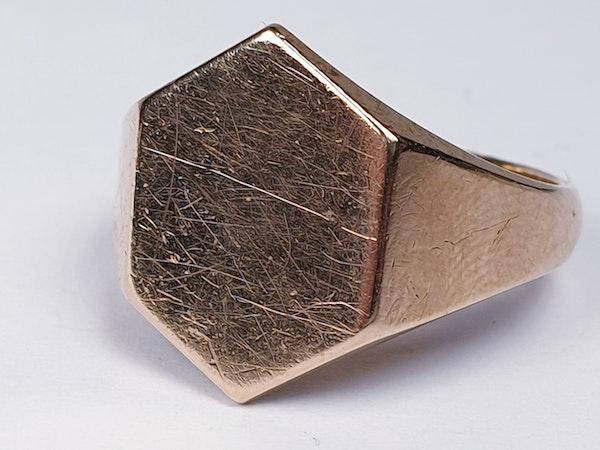 Hexagonal Gold Signet Ring  DBGEMS - image 5