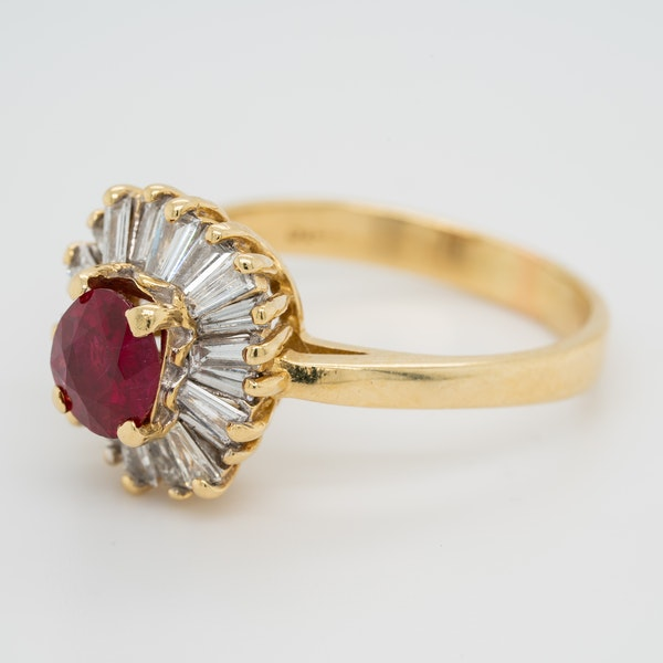 Ruby and diamond ballerina cluster ring - image 2