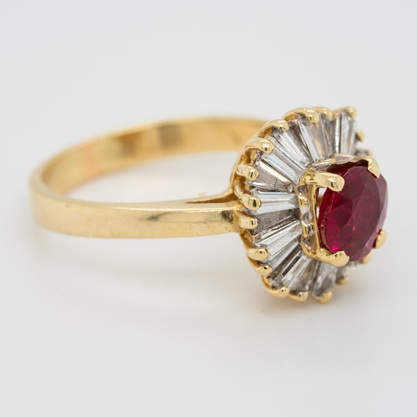 Ruby and diamond ballerina cluster ring - image 3