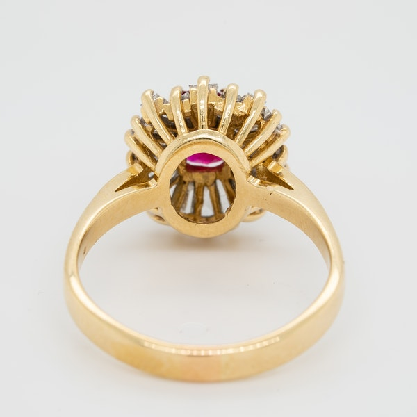 Ruby and diamond ballerina cluster ring - image 4