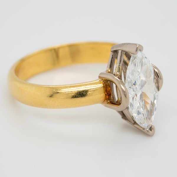 Marquise shaped  diamond solitaire ring - image 2