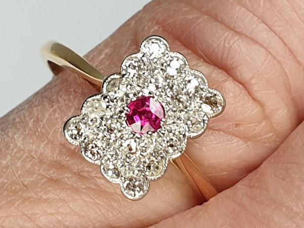 Edwardian Ruby and Diamond Panel Ring  DBGEMS - image 4