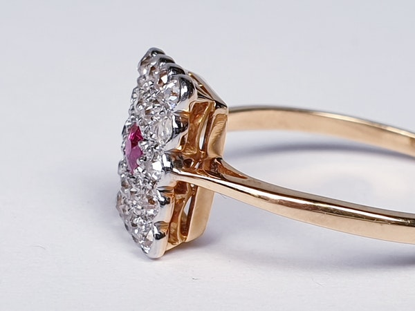 Edwardian Ruby and Diamond Panel Ring  DBGEMS - image 2