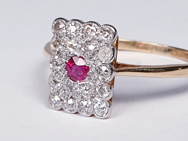 Edwardian Ruby and Diamond Panel Ring  DBGEMS - image 3