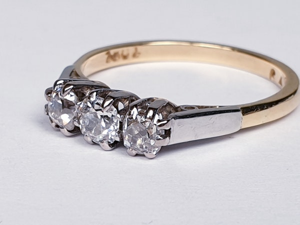 Antique Three Stone Diamond Engagement Ring  DBGEMS - image 5